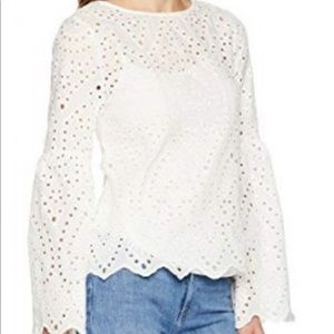 B by Bobeau Collection Tessa Eyelet Blouse Small